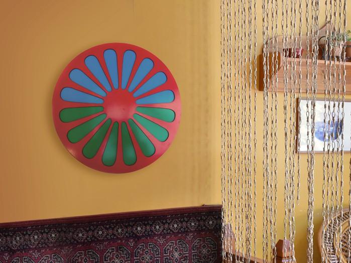 Quadro Roda Cigana em MDF Texturizado 20 x 20