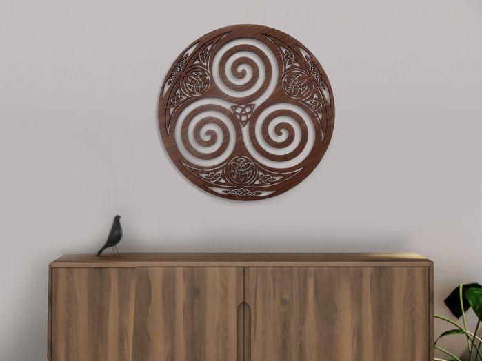 Quadro Símbolo Celta Triskle 40 x 40 cm