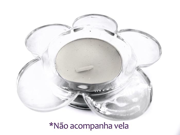 Suporte de Vela Flor em Vidro Rechaud