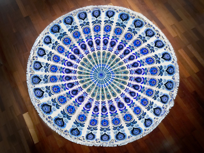 Tapete Canga Meditação Branco e Azul