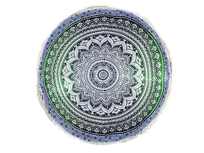 Tapete Canga Meditação Verde e Branco