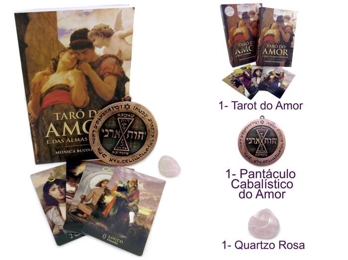 Tarô do Amor e das Almas Gemeas + Pantáculo do Amor + Pedra Quartzo Rosa