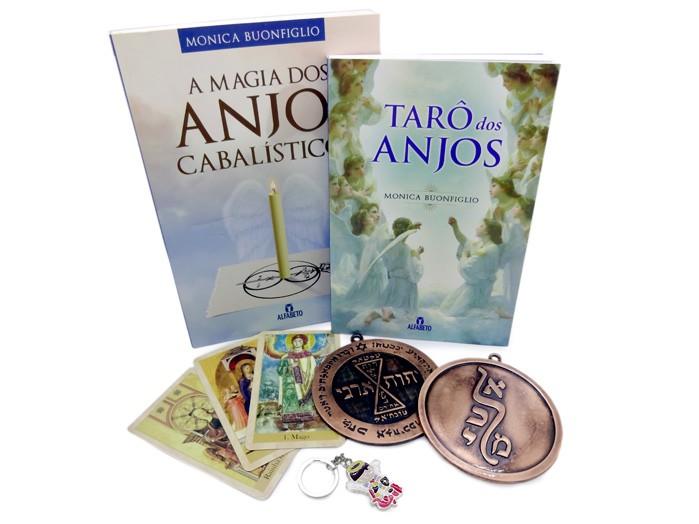 Taro dos Anjos Box + Livro Magia dos Anjos Cabalísticos + Pantáculo Miguel + Pantaculo Amor + Chaveiro Miguel