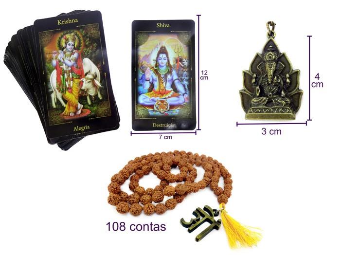 Tarô dos Deus Hindus + Japamala + Chaveiro Ganesha
