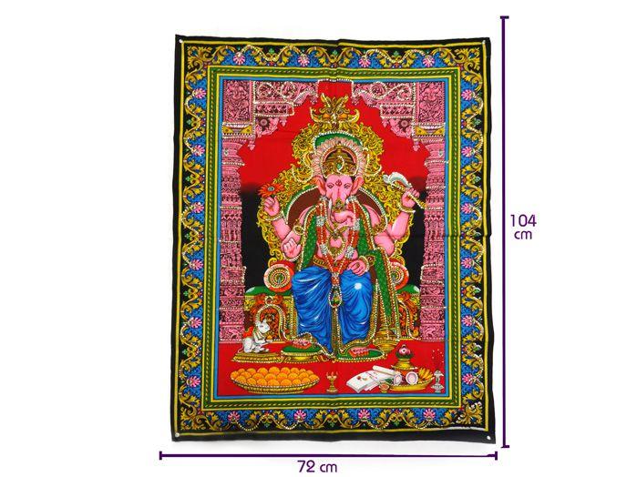 Tecido Indiano Estampado Divindade Hindu Ganesha Panô