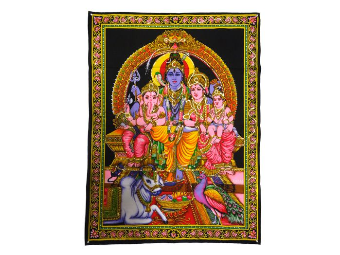 Tecido Decoração Indiana Estampado Ganesha Shiva Parvati Kartikeya Panô
