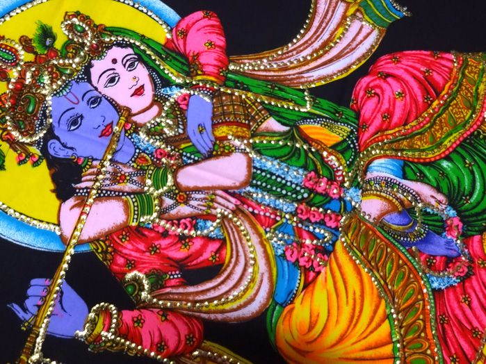 Panô Indiano Estampado Krishna Padma - Fundo Preto