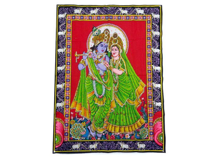 Tecido Indiano Estampado Krishna Padma - Fundo Vermelho Panô