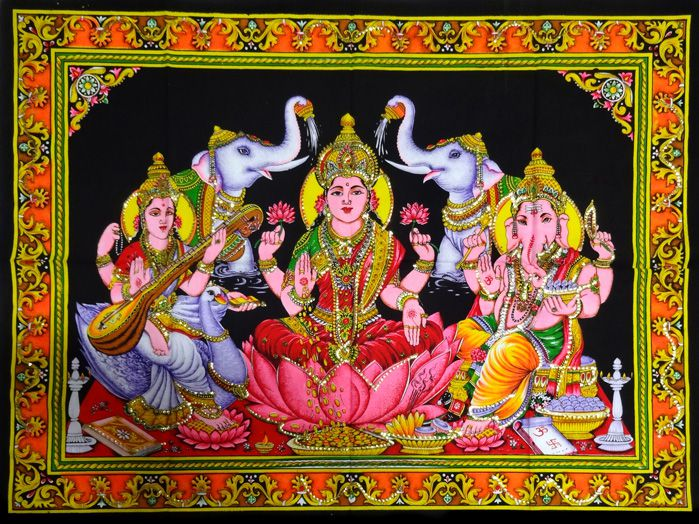 Panô Sarasvath Lakshmi Ganesha - Tecido Indiano Estampado