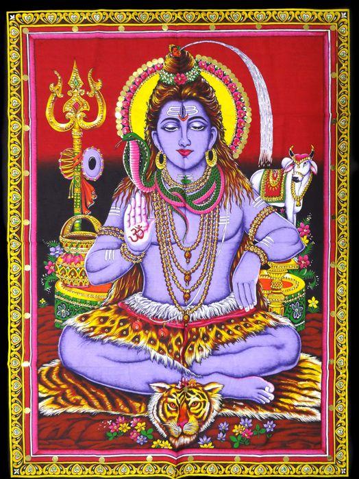 Tecido Indiano Estampado Shiva Panô Fundo Vermelho