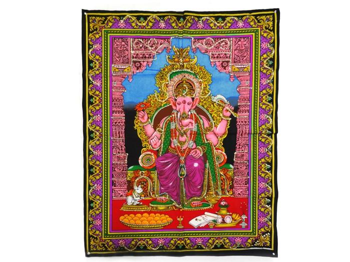 Tecido Indiano Pano Estampado Divindade Hindu Ganesha Fundo Azul