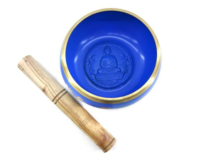Tigela Sino Cantante Tibetano cor Azul 11 cm Bastão de Brinde