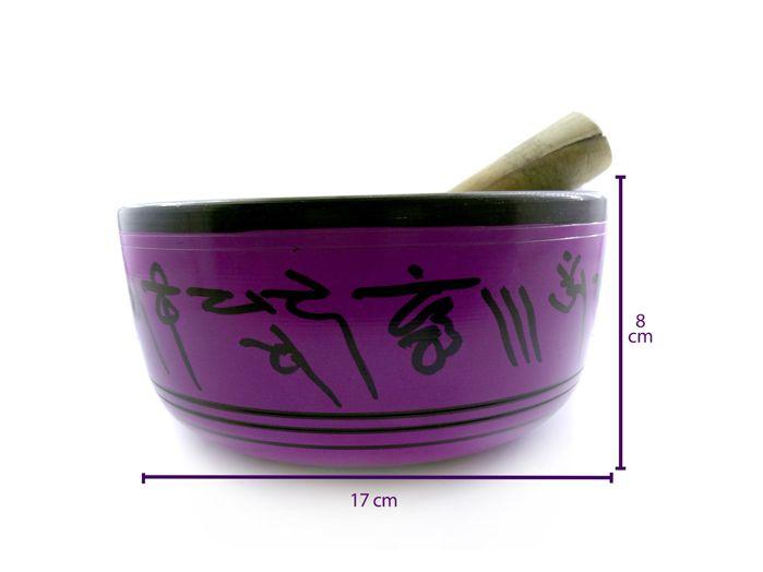 Tigela Tibetana Grande - Sino Cantante 17 x 8 cm  Lilás com Azul Almofada de Brinde
