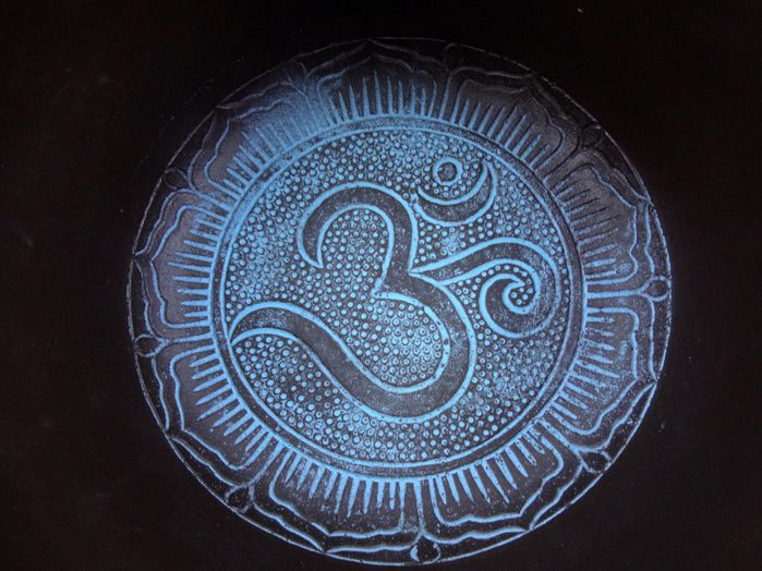 Tigela Tibetana 7 Metais Sagrados 18 x 9 cm  Azul + Almofada Brinde