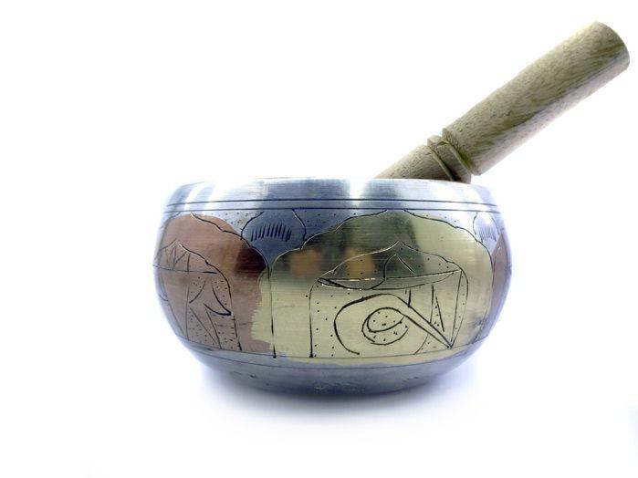 Tigela Tibetana cor Prata 11 x 6 cm