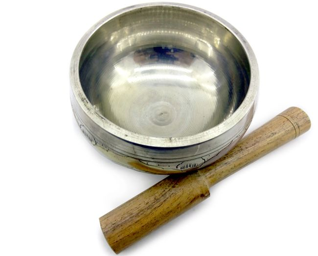Tigela Tibetana cor Prata com Almofada 8 x 5