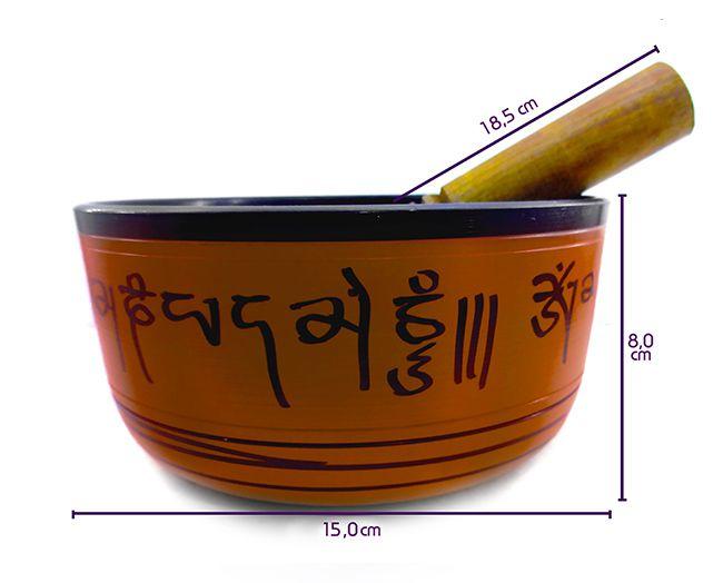 Orin Tibetano - 7 Metais Sagrados 15 cm Laranja