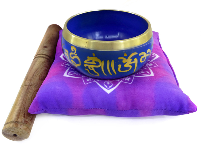 Tigela Tibetana Orin 7 Metais Sagrados 10 cm Azul