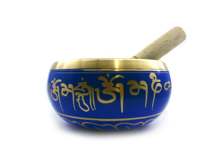 Tigela Tibetana Orin 7 Metais Sagrados 12 cm Azul + Almofada