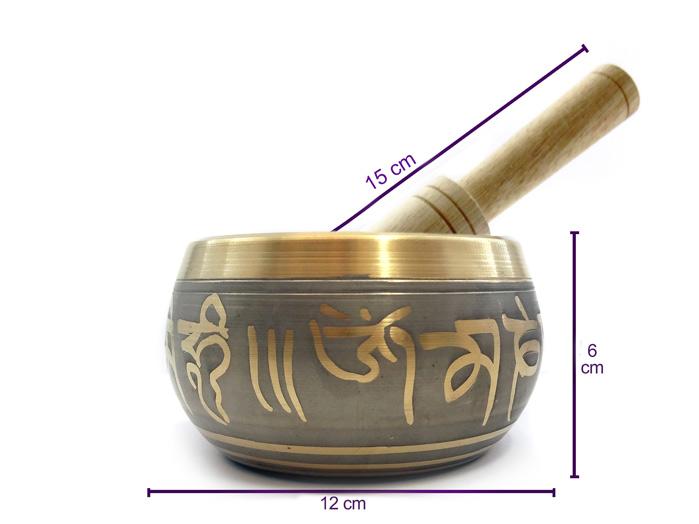Tigela Tibetana Orin 7 Metais Sagrados 12 cm Cinza