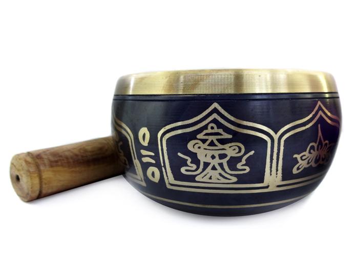 Tigela Tibetana Orin 7 Metais Sagrados 12 cm Preta