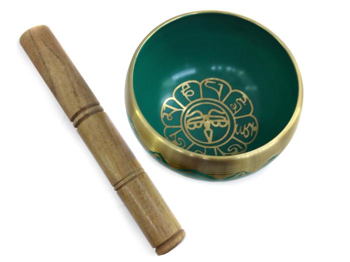 Tigela Tibetana Orin 7 Metais Sagrados 12 cm Verde