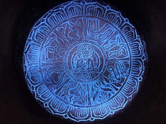 Tigela Tibetana Orin 7 Metais Sagrados 15 cm Roxa