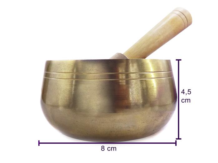 Tigela Tibetana Orin 7 Metais Sagrados 8 cm Dourada