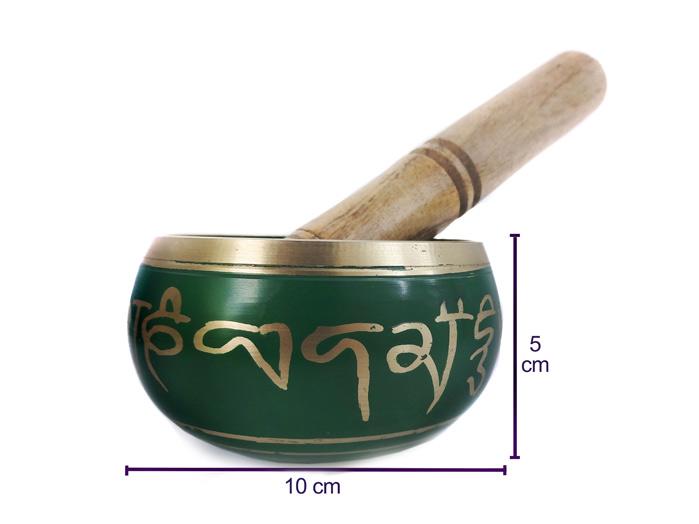 Tigela Tibetana Orin 7 Metais Sagrados Verde 10 cm