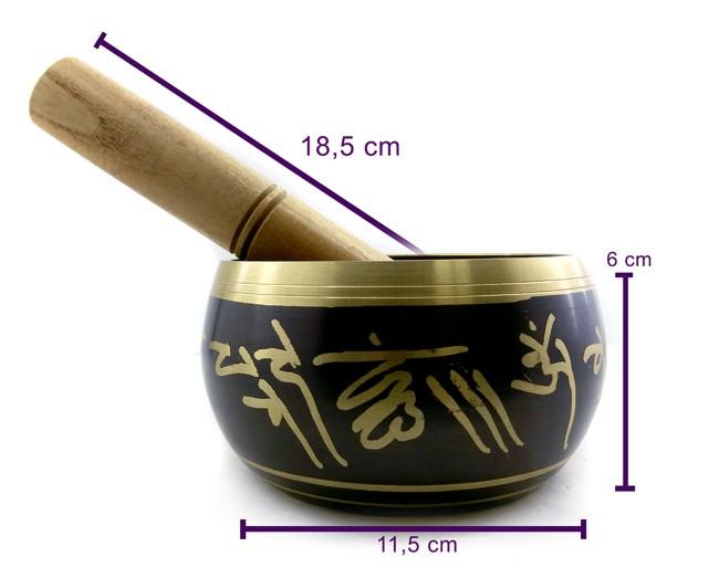 Tigela Tibetana Preta Orin 7 Metais Sagrados 11 cm