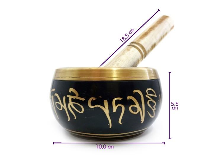 Tigela Tibetana Preto 7 Metais Sagrados 10 Cm