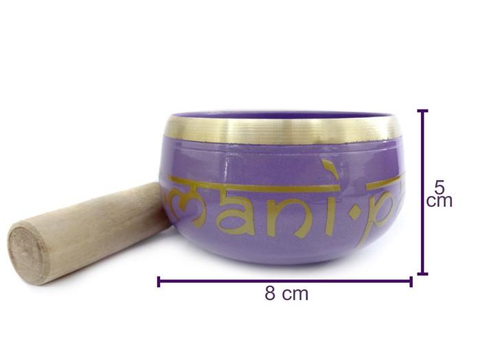 Tigela Tibetana Sino Orin 8 cm Colorida Almofada + Bastão