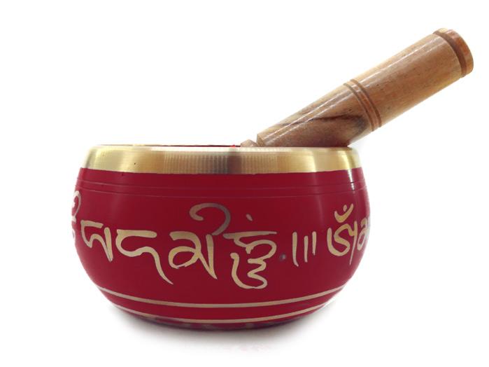 Tigela Tibetana Vermelha 7 Metais Sagrados 12 Cm