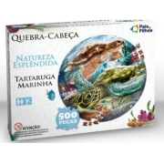 Quebra Cabeça 500pçs Redondo Tartaruga Marinha Pais e Filhos 0937
