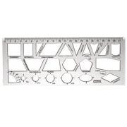 Regua Geometria Plastica Cristal 0,2x9x22,5cm Waleu 10270038