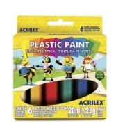 Tinta Plastica 23g Plastic Paint Cx. c/ 6 Cores Acrilex