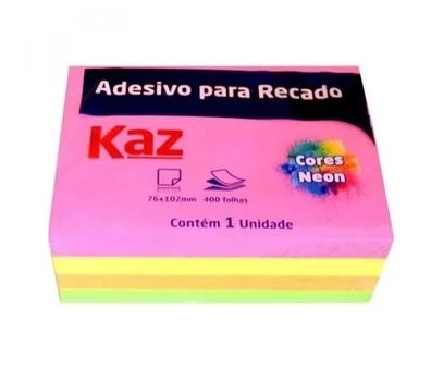 Bloco Adesivo p/ Rec 76x102mm 400fls Colors Neon Kaz  - Mundo Mágico