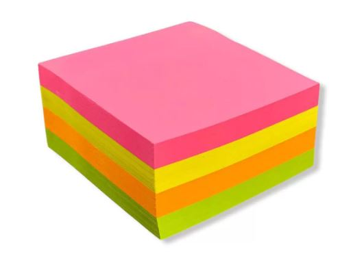 Bloco Adesivo p/ Rec 76x76mm 400fls Colors Neon Kaz  - Mundo Mágico