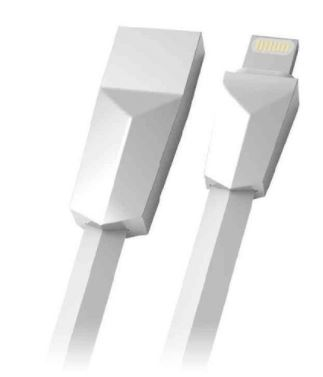 Cabo USB/Lightning 1m 2.4A Branco C3Tech CB-L170WH  - Mundo Mágico