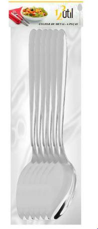 Colher de Mesa Inox Conj. 6pçs 123 Util UD30  - Mundo Mágico