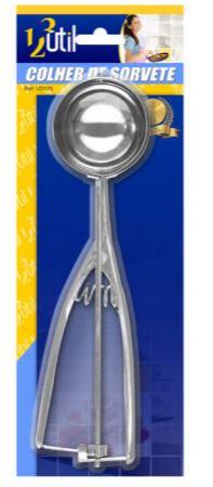 Colher de Sorvete Inox c/ Ejetor Manual Grande 123 Util UD170  - Mundo Mágico