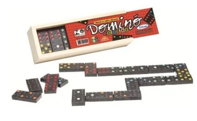 Domino Educativo Madeira c/ Pingos Coloridos Xalingo 5302.1  - Mundo Mágico