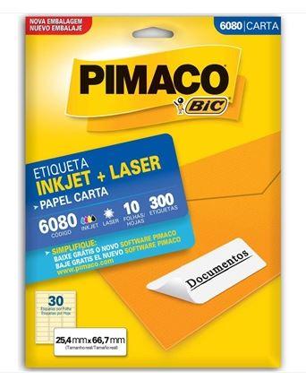 Etiquetas Pimaco Carta 6080 10F 300 Etiquetas 25,4x66,7   - Mundo Mágico