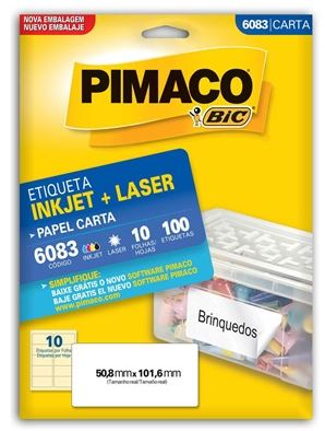 Etiquetas Pimaco Carta 6083 10F 100 Etiquetas 50,8x101,6mm  - Mundo Mágico