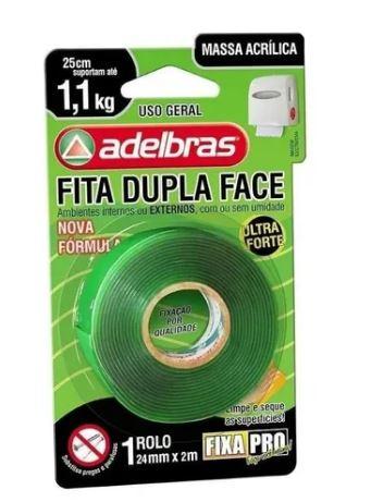 Fita Adesiva Dupla Face Transparente 24mmx2m Fixa Pro Adelbras   - Mundo Mágico
