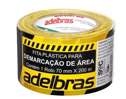 Fita Demarcaçao de Area Zebrada 70mmx200m Adelbras 0686000001  - Mundo Mágico