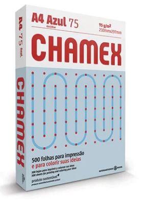 Papel Sulfite A4 75g 500fls Azul Chamex Colors   - Mundo Mágico