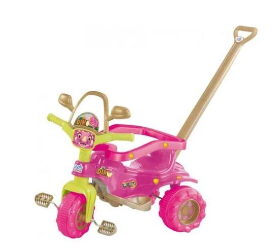 Triciclo c/ Aro Tico Tico Dino Pink Magic Toys 2804  - Mundo Mágico