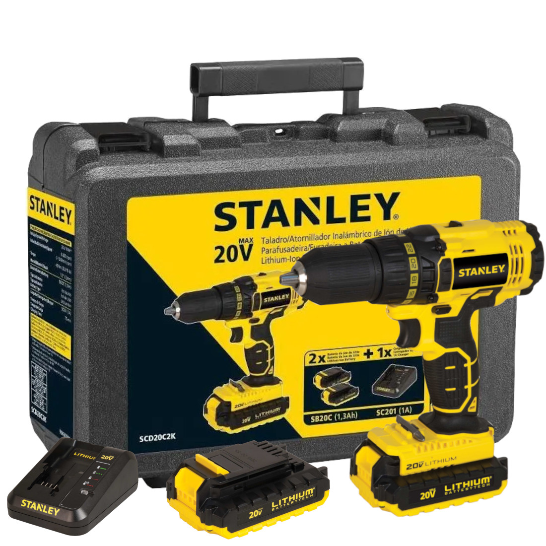 Parafusadeira e Furadeira com 2 baterias, Maleta - STANLEY- SCD20C2K