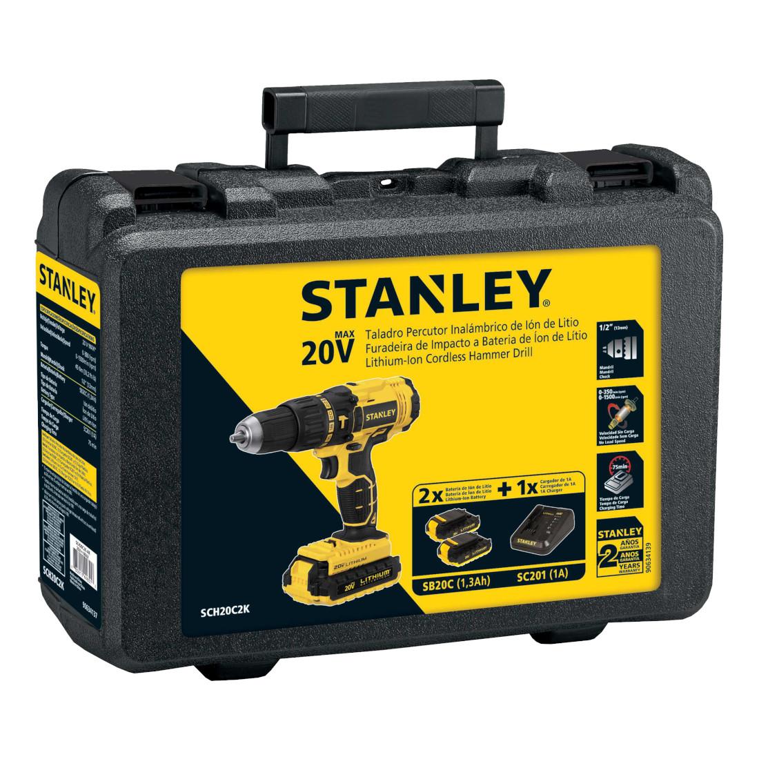 Parafusadeira e Furadeira de Impacto, 13mm, Maleta e 2 Baterias - STANLEY - SCH20C2K